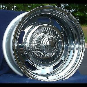 Set Of 4 15 15x7 1969 77 Chevy Camaro Chevelle Monte Carlo Chrome Rally Wheels