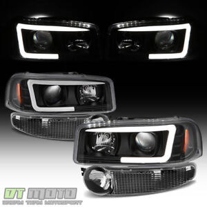 Black 2001 2006 Gmc Sierra Yukon Denali Led Tube Headlights Bumper Signal Lamps