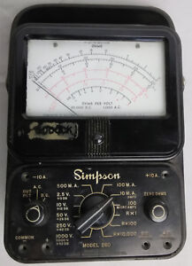 Multimeter Simpson 260 Vintage Overload Protection Volt Ohm Measurement Test