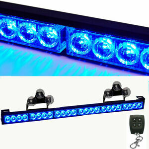 Blue 27 Emergency Directional Strobe Light Bar Wireless Remote Box