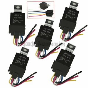 50pcs Dc 12v Car Spdt Automotive Relay 5 Pin 5 Wires W harness Socket 30 40 Amp