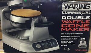 Waring Wwcm200 Commercial Double Electric Waffle Maker W Rolling Cone New In Box