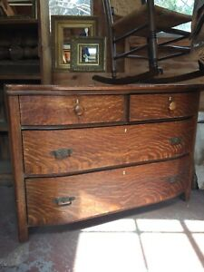 Antique Oak Dresser With Rounded Front