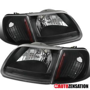 For 1997 2003 Ford F150 Expedition Black Clear Headlights W Corner Signal Lamps