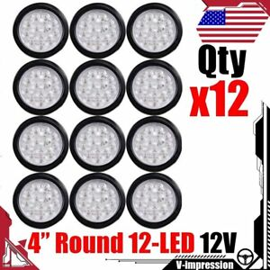 12x 4 Inch Red 12 Led Round Stop Brake Clearance Lens Tail Light W Wiring Plug