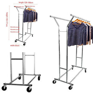 Adjustable Double Rail Garment Rack Hanger Heavy Duty Clothing Rolling Holder