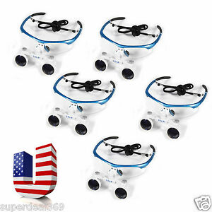 5 Usa Optical Dental Surgical Binocular Magnifier Loupes glasses 3 5x 420mm Blue