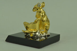 Feng Shui Rat Gold And Silver Covered Bronze Masterpiece Figurine Hot Cast