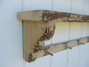 Primitive Rustic Mantle Painted Country Wall Shelf Peg Rack Mantel Wood Shelves