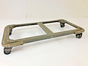 Vintage Industrial Low Cart Coffee Table Base Rustic Rolling Dolly Four Wheeler
