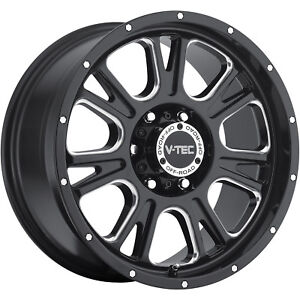 18x8 5 Black V tec Fury 5x5 0 Rims Nitto Trail Grappler 285 65 18 Tires