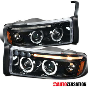 For 1994 2001 Dodge Ram 1500 2500 3500 Slick Black Led Halo Projector Headlights