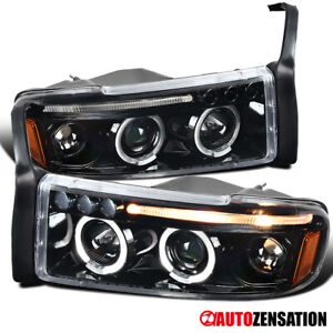 94 01 Dodge Ram 1500 2500 3500 Slick Black Led Halo Projector Headlights