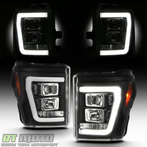Black 2011 2016 Ford F250 F350 Superduty Led Light Tube Drl Projector Headlights