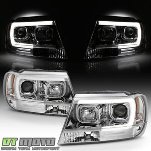 1999 2004 Jeep Grand Cherokee Led Light Tube Halo Projector Headlights Headlamps