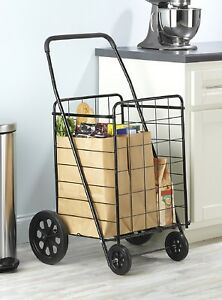 Shopping Cart With Wheels Black Folding Large Heavy Metal Grocery Laundry Basket