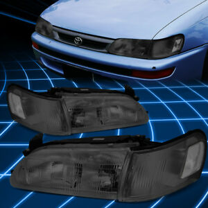 For 93 97 Toyota Corolla Smoked Housing Clear Side Driving Headlight Lamp Lh Rh