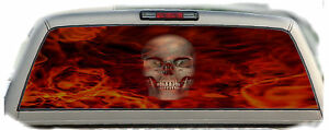 Skull Flaming red 01 Rear Window Graphic Tint Truck Stickers Decals
