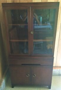 Antique Mid Century Modern Mahogany Glass Front Bookcase China Cabinet