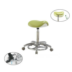 Dental Saddle Chair Deluxe Foot controlled Adjustable Dentist Stools Pu Leather