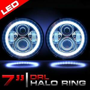 Chrome 7 Inch Round Led Headlight Angel Eye Halo Drl Projector For Ford Mustang
