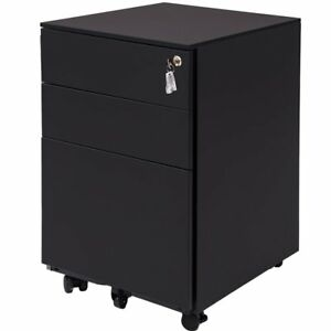 Modernlux 3 drawer Metal File Cabinet Mobile Home Office Lockable Filing Cabinet