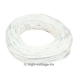 40ft 15kv Dc 17awg White High Voltage Wire Hv Cable Stranded