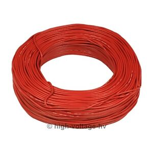 30ft 40kv Dc 18awg Red High Voltage Wire Hv Cable Stranded