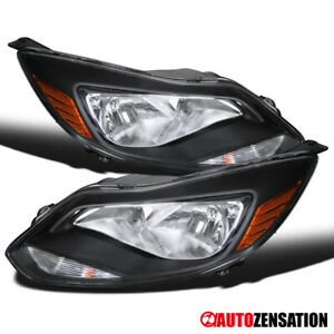 For 2012 2014 Ford Focus Se Titanium Pair Black Clear Headlights Lamps Lamps
