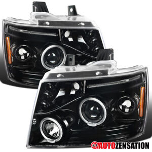 Chevy 07 13 Avalanche Tahoe Suburban Slick Black Led Halo Projector Headlights