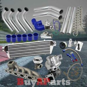 Chrome Intercooler Piping Blue Coupler Turbo Kit For Bmw E36 E46 2 5 2 8 3 0l