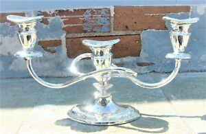 Elegant Vintage Silver Plated 3 Light Twisted Arm Candelabra Art Deco Style