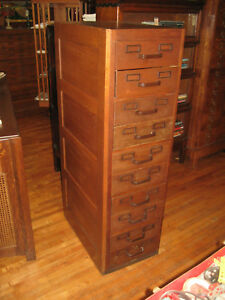 Antique Mission Oak Globe Wernicke Paper Card Flat File Cabinet 10 Drawers