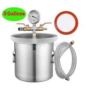 3 Gallon Vacuum Chamber Tank Silicone Resin Deaeration Barrel Seals Adjustable