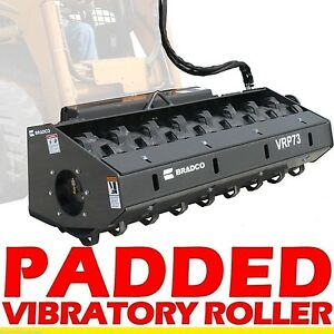 Padded Vibratory Roller Attachment For Skid Steer Loaders 73 8 550 Lbs Force