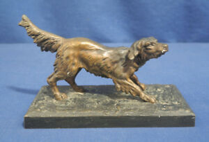 Vtg Antique Cold Painting Austrian Bronze Dog Figurine Hunting Setter Retriever