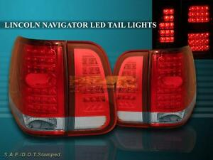 03 04 05 06 Lincoln Navigator Red Clear Led Tail Lights 4 Pieces Set