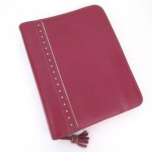Franklin Covey Classic Planner Red Italian Leather Binder White Dot Trim 7 ring