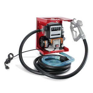 110v Electric Diesel Oil Fuel Transfer Pump Display Meter With 13 Hose