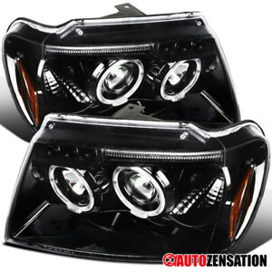 99 04 Jeep Grand Cherokee Slick Black Led Drl Dual Projector Headlights Pair
