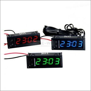Led Embedded Indoor Outdoor Car Clock Thermometer Voltage Monitor Modified New