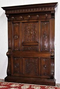 Antique Country French Carved Walnut Entry Hall Tree Circa 1880