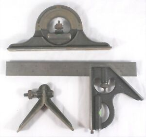 Brown And Sharpe Protractor Center Head Combination Square 9 Rule 4 Pieces