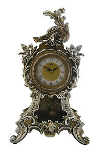 Polished Antique Polyresin Hand Painted Table Clock W Swinging Pendulum