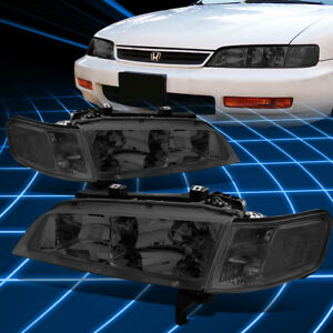 For 94 97 Honda Accord Smoked Housing Clear Side Front Bumper Headlight Lamps