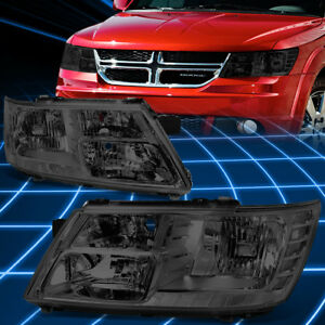 For 09 17 Dodge Journey Smoked Housing Clear Side Front Bumper Headlight Lamps