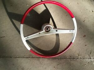 1961 1962 1963 1964 Chevrolet Chevy Steering Wheel Red And White 26x Part