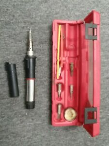 Blue Point Yaks 1 Portable Butane Soldering Iron Extra Tips Carrying Case