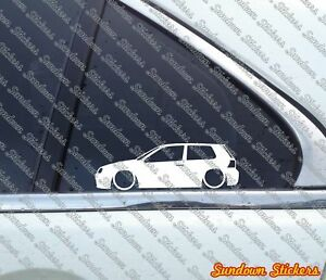 2x Lowered Car Outline Stickers For Vw Golf Mk4 R32 Gti 3 Door