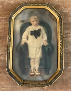 1920 Antique Oval Bubble Glass Little Boy Nickers Picture Frame Vintage Portrait